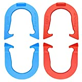 Bronco Pro-Flip Professional Pitching Horseshoes Set- Made in USA! (Red & Blue- Two Pair Set (4 Shoes))