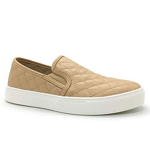 FUNKYMONKEY Women's Loafers Comfort Walking & Driving Slip-on Flat Shoes (6 B(M) US, TAN)