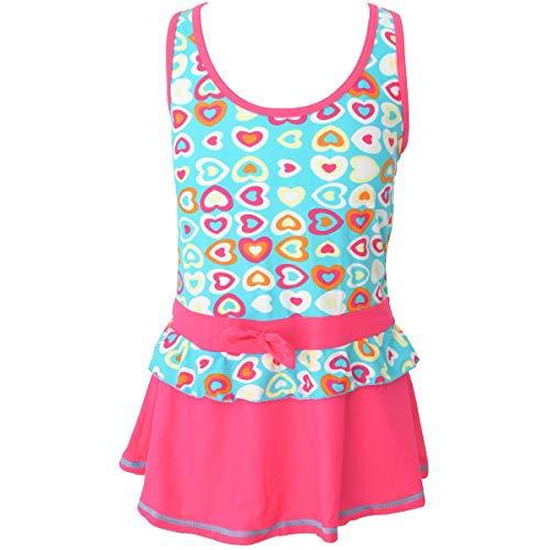 Perfashion Girls Heart Pattern Bathing Suit One Piece Swimsuit Blue ()