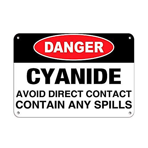 シアン化物の危険流出物を含む直接接触を避ける 金属板ブリキ看板警告サイン注意サイン表示パネル情報サイン金属安全サイン