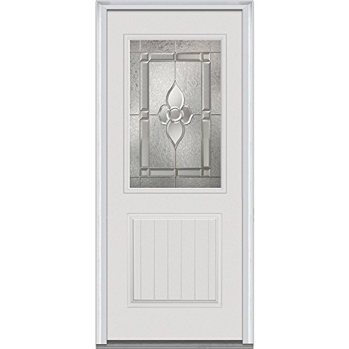 """UPC 769001013289, National Door Company Z022159L Fiberglass Prehung Left Hand In-Swing Entry Door with Master Nouveau Decorative Glass, 42371 Lite, 1-Planked Panel, Smooth, 36"""" x 80"""""""