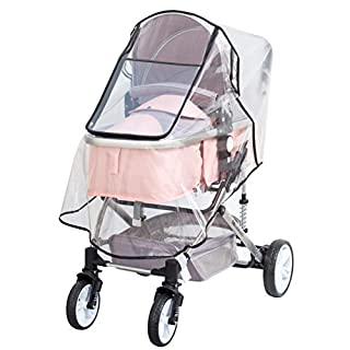 Bemece Stroller Rain Cover Universal, Baby Travel Weather Shield, Windproof Waterproof, Protect from Dust Snow (Black-Upgrade)