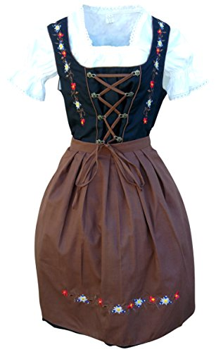 Dirndl World Womens Di06brs, German Bavarian 3 Piece Dirndl Dress for Oktoberfest, brown black, Blouse Apron, Size (German Ladies Traditional Dress)
