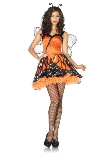 Lovely Monarch Adult Costumes (Leg Avenue Women's 2 Piece Lovely Monarch Dress With Layered Skirt And Head Piece, Orange/Black, X-Small)