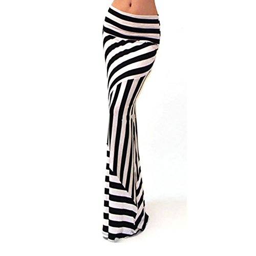 IHRKleid Jupe Longue d'impression Strips Noir
