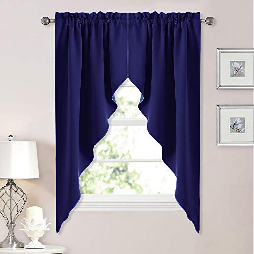 Swags Window Treatments (NICETOWN Blackout Rod Pocket Kitchen Tier Curtains- Tailored Scalloped Valance/Swags for Living Room (Royal Navy Blue, 1 Pair, W36 X L63 Inches Each Panel))