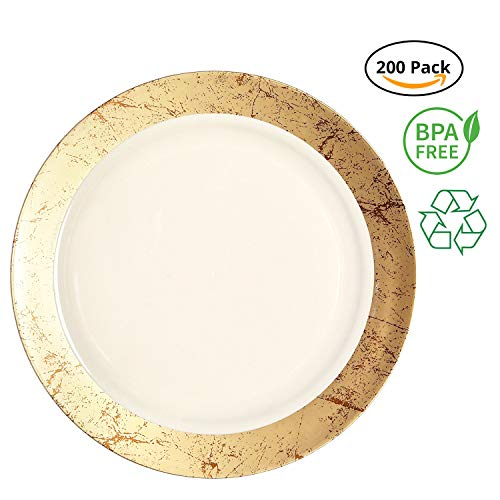 Party Joy 'I Can't Believe It's Plastic' 200-Piece Plastic Dinner Plate Set   Marble Collection   Heavy Duty Premium Plastic Plates for Wedding, Parties, Camping & More (Gold)