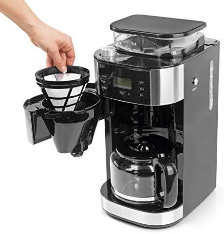 Barista Machine à Café avec Broyeur à Grains   Avec verseuse en verre jusqu'à 12 tasses de café   Pour café en grains et café en poudre [1,5 litres / 900 watts / acier inoxydable ]