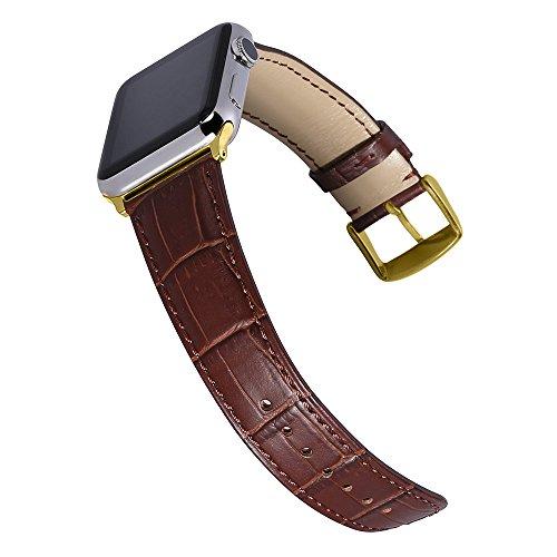 Chimaera Replacement for Apple Watch Band Alligator Grain Genuine Calf Leather Strap Compatible 38MM 42MM Replacement for iWatch Series 2 Series 3 Watchband Rose Gold Adaptors - Calf Grain