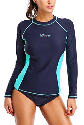 ALove Women Rash Guard UV Protection Ladies Long Sleeve UV Shirt Swimsuit Navy - Rash Guards Women