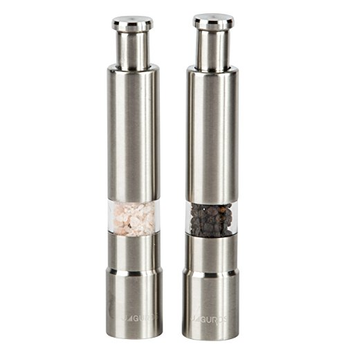 Salt and Pepper Grinder Set - 2 piece Premium Quality Stainless Steel Shaker/Mill Combo