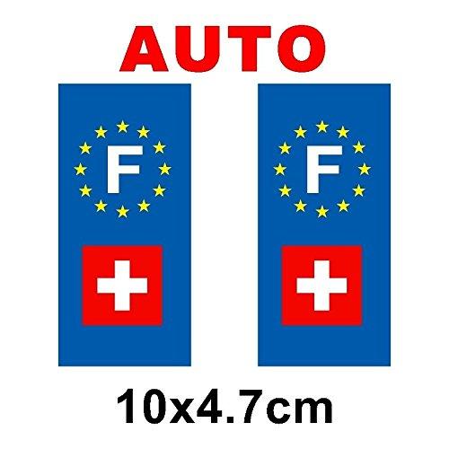 Autocollant plaque immatriculation drapeau suisse Auto