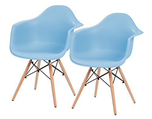IRIS Mid-Century Modern Shell Armchair with Wood Eiffel Legs, 2 Pack, Sky - Blue Chair Wooden Sky