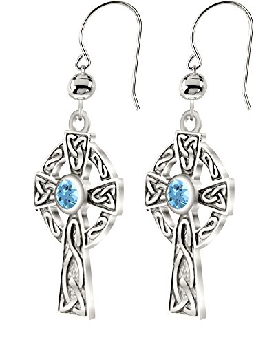 - US Jewels And Gems New 0.925 Sterling Silver Irish Celtic Knot Cross Earrings with Genuine Aquamarine March Birthstone