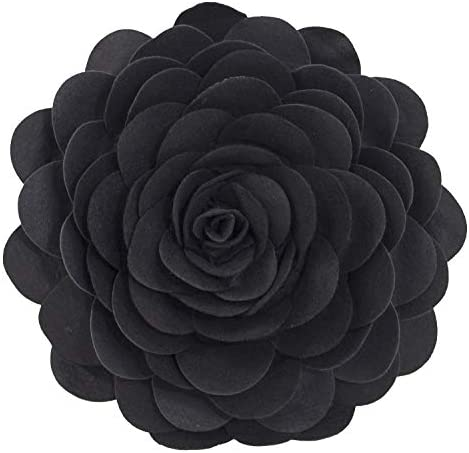 Fennco Styles Eva s Flower Garden Decorative Throw Pillow with Insert – 16 inches Round Black, 16 Case Insert