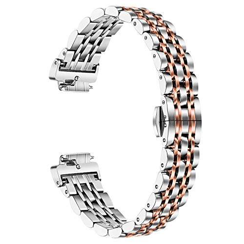TRUMiRR Compatible Fitbit Inspire/Inspire HR Band Women Men, Solid Stainless Steel Watchband Metal Strap Wristband Replacement Bracelet for Fitbit Inspire HR Smart Watch, Silver Rose Gold (Bracelet Stainless 8.5' Steel)