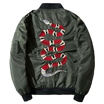 Chartou Men's Classic Snake-Embroidery Lightweight Flight Baseball Jacket Windbreaker (X-Small, Army Green)