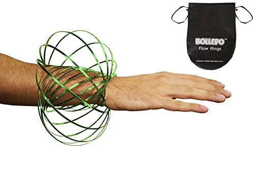 BOLLEPO Flow Ring Kinetic 3D Spring Toy Sculpture Ring Game Toy for Kids Boys and Girl … (Green, 1)