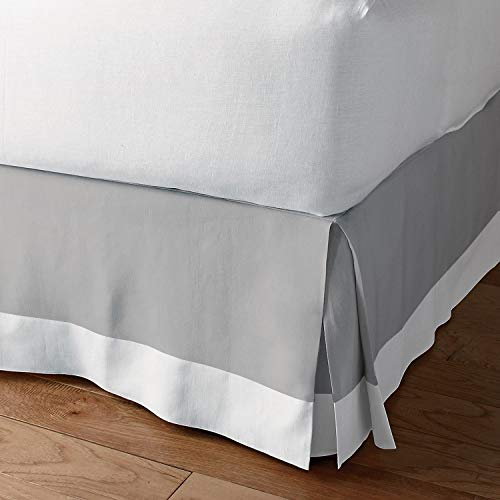 Classic Box Pleated Bed Skirt Dust Ruffle Tailored Styling (Light Grey/White,Cal-King - 12