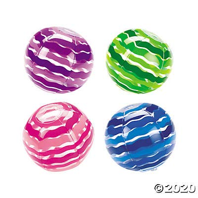 Bright Colored Striped Beach Balls (Set of 12) Kids Pool Party Favors and Supplies: Toys & Games