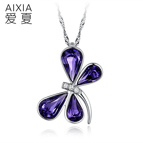 Generic summer love jewelry _Austrian_ crystal butterfly pendant necklace women girl short _paragraph_ clavicle _exaggerated_ Korean fashion by Generic (Image #1)