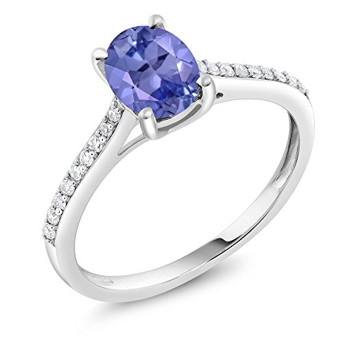 Gem Stone King 10K White Gold Pave Diamond Engagement Solitaire Ring set with 8x6mm Oval Blue Tanzanite 1.26 ct (Size 6) ()