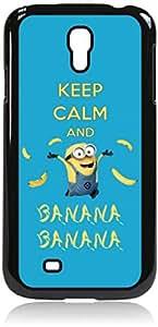 Keep Calm and Banana Banana- Hard Black Plastic Snap - On Case-Galaxy s4 i9500 - Great Quality!
