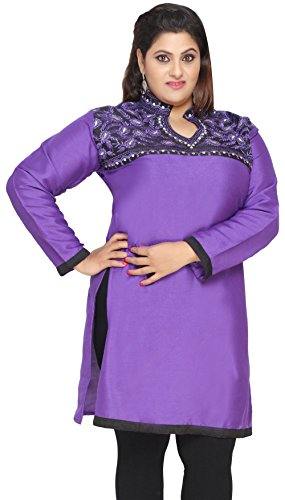 India Tunic Long Top Kurti Womens Plus Size Indian Clothes (Purple, XL)