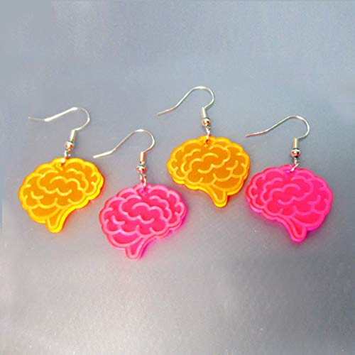 Zombie Tasty Brains Neon Dangle Earrings, Halloween Zombies Costume, Black Light Rave Jewelry ()