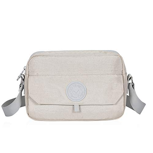 Hynes Eagle Travel Small Crossbody Bag Casual Lightweight Messenger Bag Beige