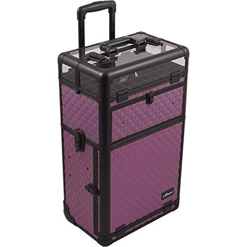 SUNRISE Makeup Case on Wheels 2 in 1 I31062 Nail Artist, 54 Bottle Max, 5 Accessory Drawers, Adjustable Divider, Locking with Mirror and Shoulder Strap, Purple Diamond