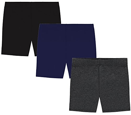 My Way Girls' Value Pack Solid Cotton Bike Shorts - Black, Charcoal, and Navy - 16]()