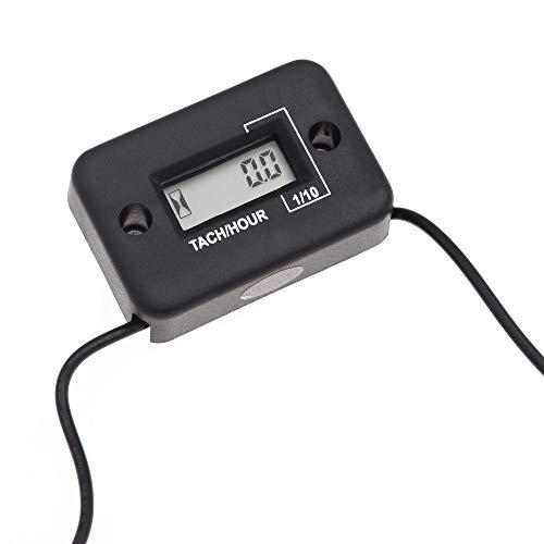 (AppleLand Waterproof Digital Tachometer Tach Hour Meter Gauge LCD for 4 Stroke Gas Engine Motorcycle ATV Snowmobile Boat Black - Quarkscm)