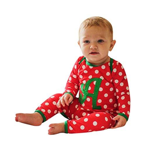 Sunbona Christmas Toddler Baby Boys Girls Dot Print Romper Jumpuit Pajamas Outfits Clothes (12~18months, (Ornaments Pajamas)