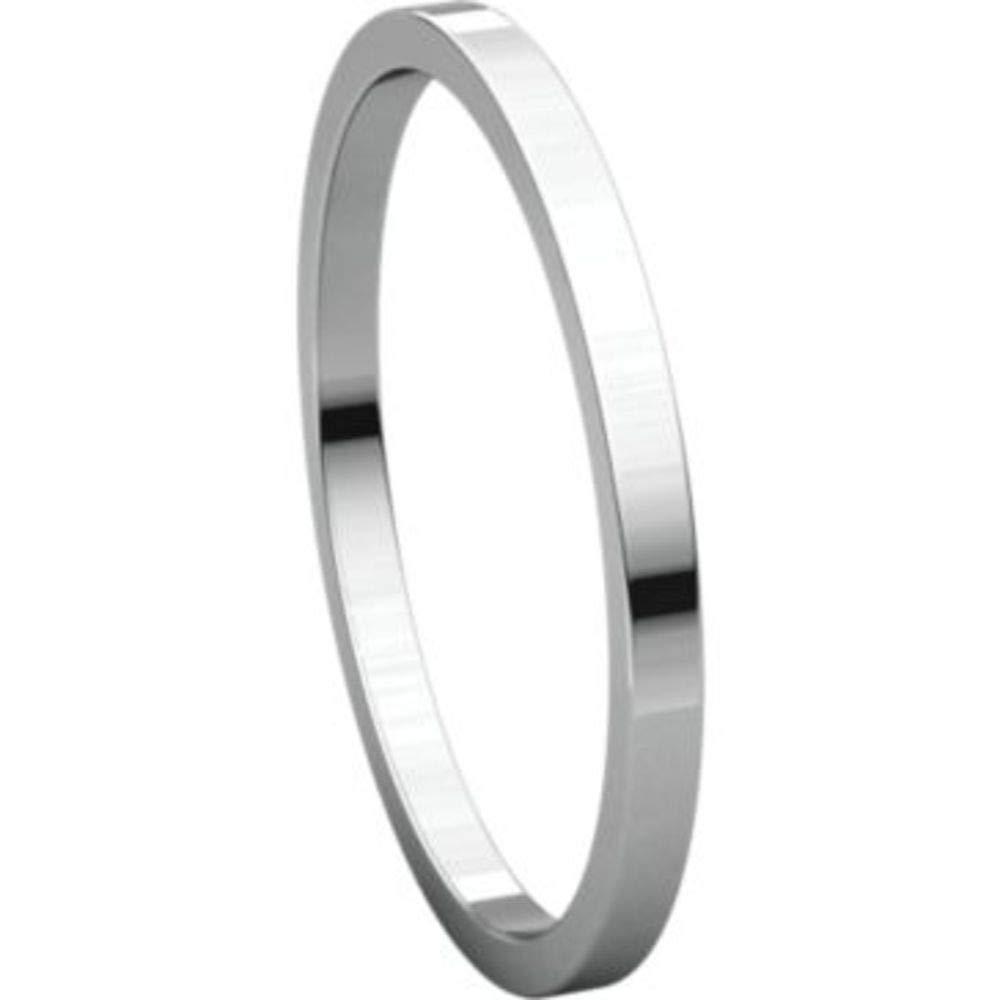 Size 10 Bonyak Jewelry 18k White Gold 1.5 mm Flat Band