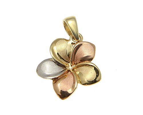 14k Plumeria Charm Gold - 14K Solid tricolor gold 13mm Hawaiian plumeria flower pendant charm