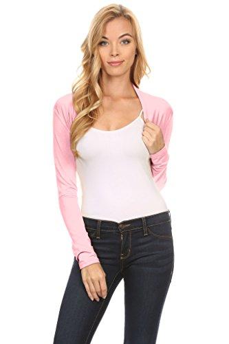 Pink Bolero - Simlu Long Sleeve Bolero Shrug For Women reg and Plus Size- Made In USA Baby Pink Medium