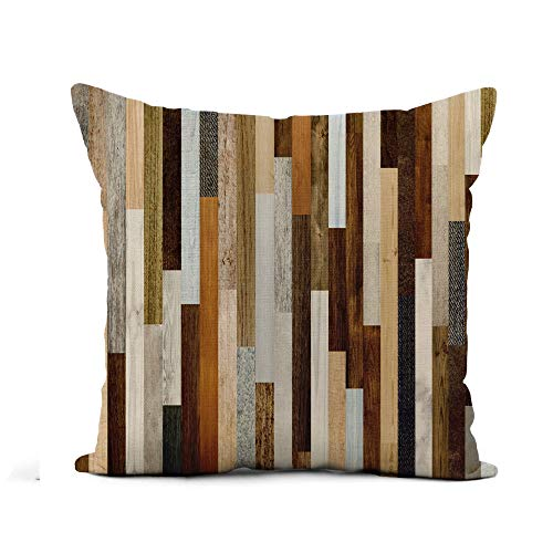 (Awowee Flax Throw Pillow Cover Pallet Wood Colorful Planks Rustic Abstract Aged Beautiful Beech 16x16 Inches Pillowcase Home Decor Square Cotton Linen Pillow Case Cushion Cover)