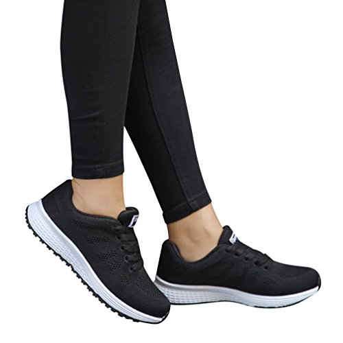 vermers Women Casual Shoes - Fashion Mesh Round Cross Straps Flat Sneakers Running Shoes(US:6.5, Black) by vermers