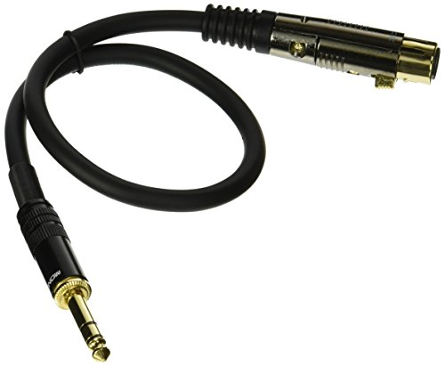 Monoprice 104767 1.5-Feet Premier Series XLR Female to 1/4-Inch TRS Male 16AWG Cable