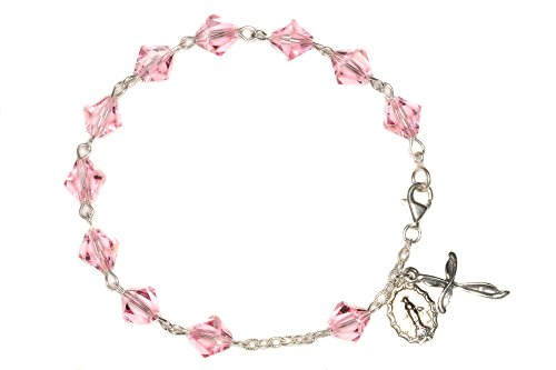 Womens Rosary Bracelet made with Light Rose Pink Swarovski Crystal Elements