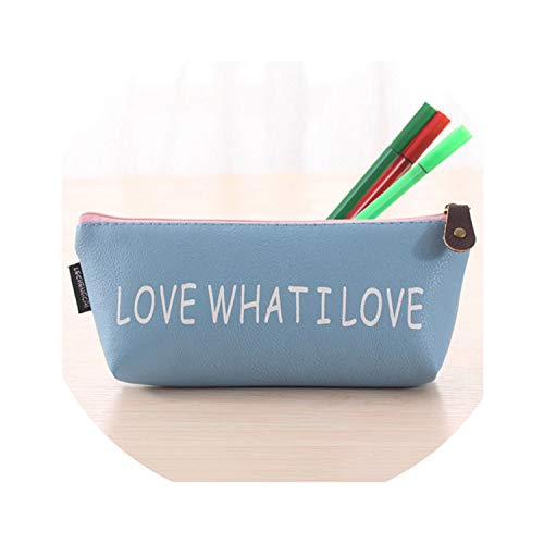 Classical 4 Colors Waterproof Pu Leather School Stationery Pen Bag Kawaii Triangle Pencil Case,BL -