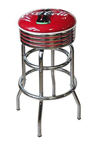 (Vitro Seating Products 215-782CBB Coca-Cola Bullseye Chrome Double Ring Swivel Stool, Red and White)