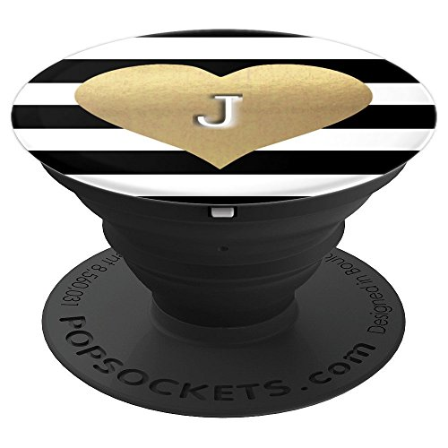Letter J Monogram Faux Gold Heart on Black & White Stripes - PopSockets Grip and Stand for Phones and Tablets (Monogram Heart)