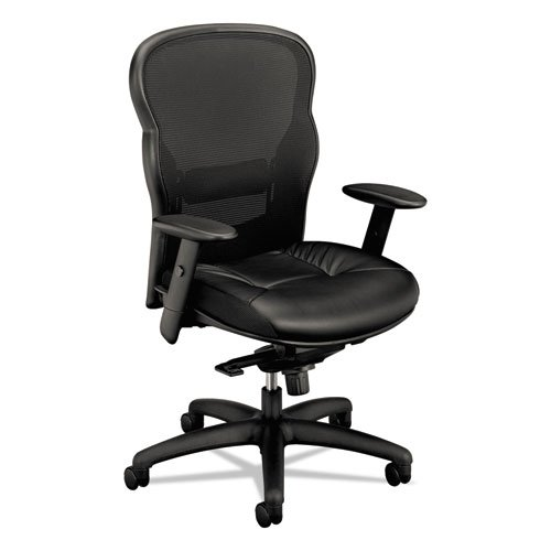 Basyx VL701ST11 VL701 Series High-Back Swivel/Tilt Work Chair, Black Mesh/Leather (Series Vl700)