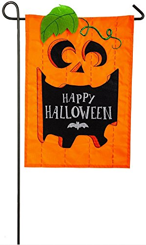 Evergreen Garden Designs - Evergreen Jack-O-Halloween Applique Garden Flag, 12.5 x 18 inches
