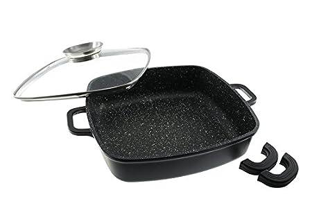 Sauteuse Mijoteuse carrée en pierre granité et céramique de 28 cm – tous feux dont induction – Couvercle saveur inclus – Natural Cook® professionnel