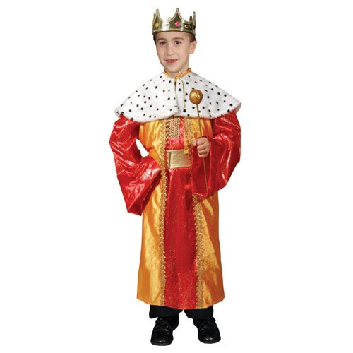 King Robe And Crown Set Kids Costumes (Deluxe King Set Costume Set - Small 4-6)