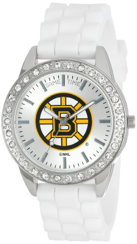 Game Time Women's Frost NHL Series' Quartz Metal and Silicone Casual Watch, Color:White (Model FRO-BOS) ()