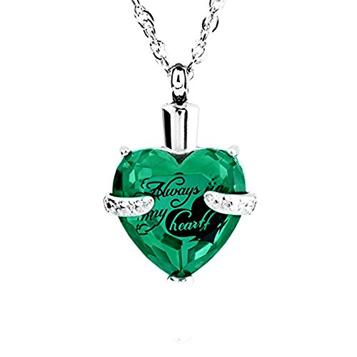 Always in My Heart 12 Birthstone Crystal Urn Necklace Heart Memorial Keepsake Pendant Ash Holder Cremation Jewelry for Ashes (May.)